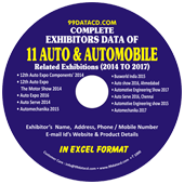 Exhibitors Data of 11 Auto & Automobile Related Exhibitions  In Excel Format  (Exhibition Wise)