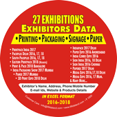 Exhibitors Data of  Printing, Packaging Exhibitions
