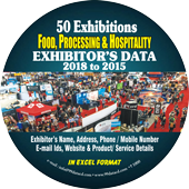 Exhibitors Data of 50 Food  Related Exhibition - In Excel Format  (Exhibition Wise)