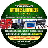 3,566 Batteries & Chargers  Related Products, Accessories & Equipments Data - In Excel Format