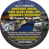 46,572 Ahmedabad, Baroda, Surat &  Rest Gujarat Data - In Excel Format
