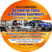 1,018 Automotive Tools & Repairing Equipments - All Types  (All India) Data - In Excel Format