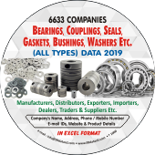 6,633 Bearings, Couplings, Seals & Washers Etc. Data - In Excel Format