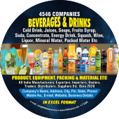 4,546 Beverages & Drinks (All Types)  Product & Equipment Data - In Excel Format