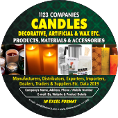 1,123 Candles - Decorative, Wax & Artificial Data - In Excel Format