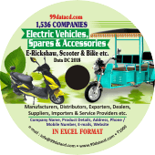 Electric Vehicles, Spares  & Accessories Data