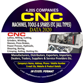 4,205 CNC Machines, Tools &  Spares etc. Data - In Excel Format