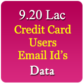 9.20 Lac Credit Card Users Email Data - In Excel Format