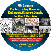 Crockery, Cutlery, Kitchenware,  Barware Etc. Data