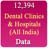 12,394 Dental Clinic & Hospitals  (All Types - All India) Data - In Excel Format