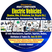 Electric Vehicles, Equipments  Accessories & Spares Data