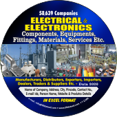 58,639  Electrical & Electronics Components, Equipments, Fittings, Materials, Services etc Data - In Excel Format