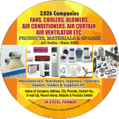 3,026 Fans, Air Conditioners &  Coolers Etc. Data - In Excel Format