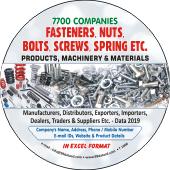 7,700  Fasteners, Screws, Springs Product Etc. Data - In Excel Format