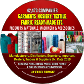 42,473 Garments, Hosiery &  Textiles etc. Data - In Excel Format