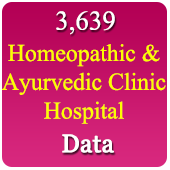 3,639 Homeopathic & Ayurvedic Clinic & Hospitals  (All Types - All India) Data - In Excel Format