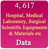 4,617 Hospital, Medical, Laboratory,  Scientific, Surgical Equipments & Materials Data - In Excel Format