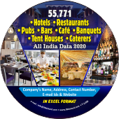 55,771 Hotels, Restaurants, Pubs Bars, Cafe, Banquets, Tent Houses & Caterers Data - In Excel Format
