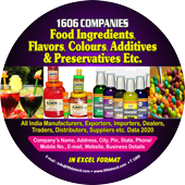 1,606 Food Ingredients, Flavors & Additives Data - In Excel Format