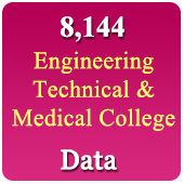 8,144 Medical, Engineering & Technical  Colleges (All India) Data - In Excel Format
