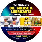 Oil, Grease &  Lubricants (All Types) Data