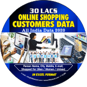 30 Lac Online Shopping Customers  (All India) Data - In Excel Format
