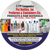 1,179 Pet Bottles, Jar, Preforms & Containers Products Data - In Excel Format