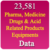 23,581 Pharma, Medicine, Drugs & Acid Related Products, Equipments, Materials & Packaging Data - In Excel Format