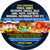 1,246 Pickles, Honey, Ketchups, Jams & Sauces Data - In Excel Format