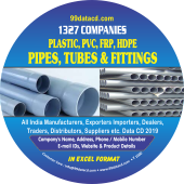 1,327 Plastic, PVC, FRP, HDPE &  Pipes Data - In Excel Format