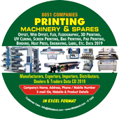 8,051 Printing Machinery &  Spares Data - In Excel Format