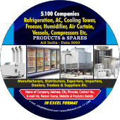 5,100 Refrigeration, Cooling Tower  & Freezer Etc. Data - In Excel Format