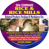 2,616 Rice & Rice Mills Products, Packing Data - In Excel Format