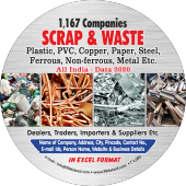1,167 Scrap & Waste- Plastic, Copper, Paper, Steel Data - In Excel Format