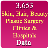 3,653 Skin, Slimming, Beauty, Hair, Plastic Surgery Clinic  & Hospitals  (All Types - All India) Data - In Excel Format