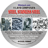 11,419 Steel, Stainless Steel Products  & Equipments Data - In Excel Format