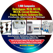 1,488 Switchgear, MCB, RCCB,  MCCB, Socket Products, Materials & Fittings Data - In Excel Format