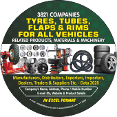 3,821 Tyres, Tubes, Flaps & Rim For Vehicles Data - In Excel Format