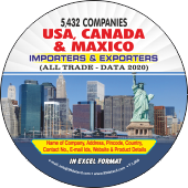 5,432 USA, Canada, Maxico (All Trade) Importer & Exporter Data - In Excel Format